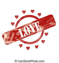 Red Weathered Love Stamp Circle and Hearts Design