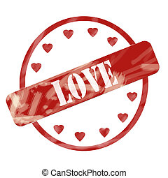 Red Weathered Love Stamp Circle and Hearts