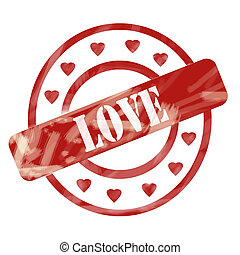 Red Weathered Love Stamp Circles and Hearts