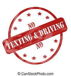 Red Weathered No Texting and Driving Stamp Circle and Stars
