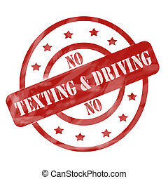 Red Weathered No Texting and Driving Stamp Circles and Stars