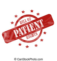 Red Weathered Patient Stamp Circle and Stars design - A red...