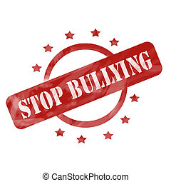 Red Weathered Stop Bullying Stamp Circle and Stars design -...