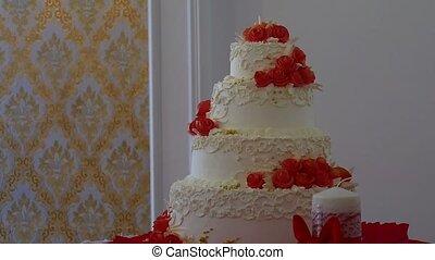 red wedding video cake close-up dessert at a wedding feast -...