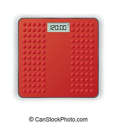 Red weigh scales on the white background