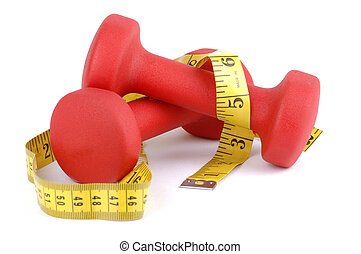 Red Weight with Tape - Red hand weights with tape measure on...