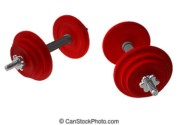Red weightlifting weights - dumbells