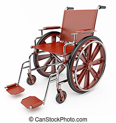 Red wheelchair on a light background.
