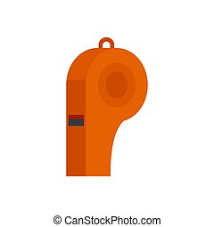 Red whistle icon, flat style