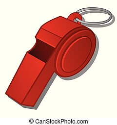 Red whistle of the coach isolated on white background. Vector cartoon close-up illustration.