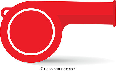 red whistle on a white background