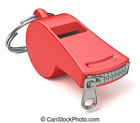 Red whistle with a closed zipper 3D - Red whistle with a...