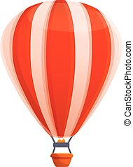 Red white air balloon icon, cartoon style