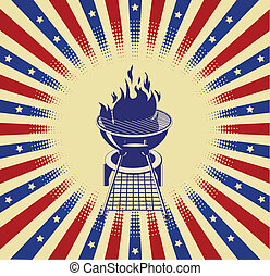 Red, White and BBQ - Patriotic radial barbeque background...