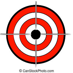 red white and black bullseye target with crosshair