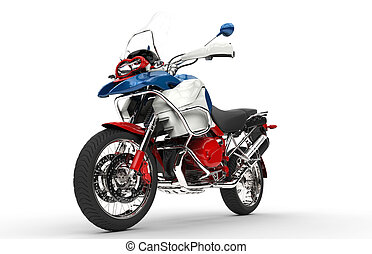Red White and Blue Bike Front View
