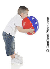 Red, White and Blue Blow-Up - Profile of a young preschooler...