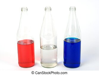 Red, white and blue bottle