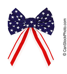 A colorful red white and blue bow on a white background.