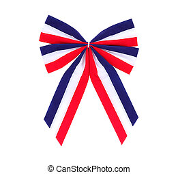 Patriotic red, white and blue holiday bow.