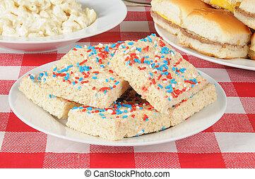 Red, white and blue dessert bars
