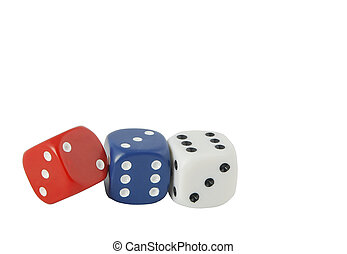 red, white and blue dice