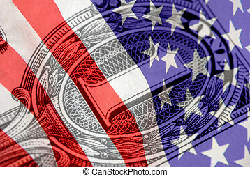 Red, White, and Blue Financial Symbols
