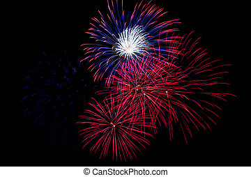 Red, White and Blue Fireworks on a Black Background