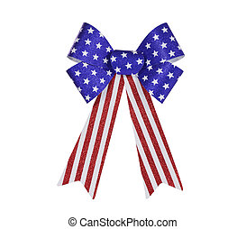 Red, white and blue glitter bunting bow isolated with clipping path.
