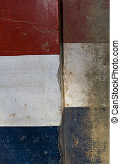 Red White and Blue Grunge Stone Flag Textured Background