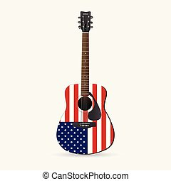 Red, White and Blue Guitar
