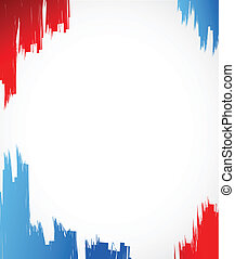 red, white and blue ink illustration design