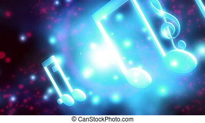 Red white and blue music notes looping animated backdrop