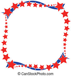 Red white and blue Patriotic Frame - Red stars with blue...