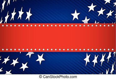 red, white and blue patriotic illustration