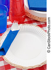 Red, White and Blue Picnic Table Setting - Red, white and...