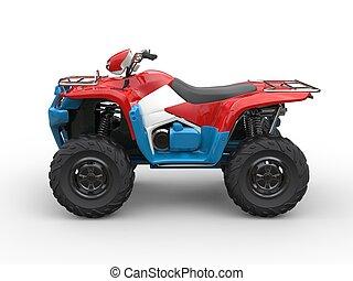 Red white and blue quad bike