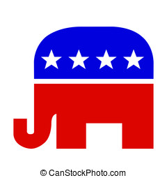 Red White and Blue Republican Elephant
