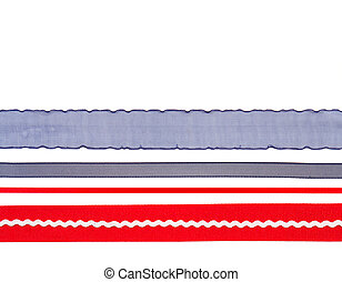 Red white and blue ribbon isolated on white background