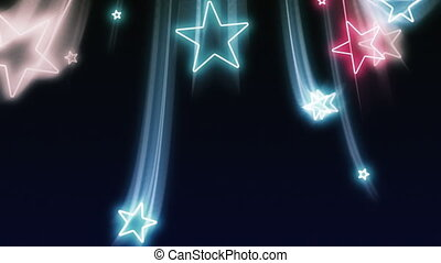 Glowing red, white and blue stars fly down in and out of the screen in luxurious old school motion graphics style.