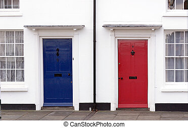 Red, White and Blue - Red and blue doors