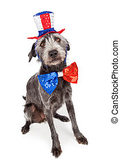 Red White and Blue Terrier Dog - American patriotic dog...