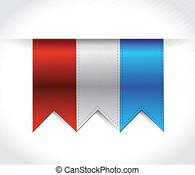 red, white and blue USA banners illustration