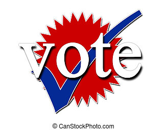 vote - Red white and blue vote and tick symbols for...
