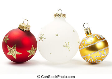 red white and golden christmas ball on white background