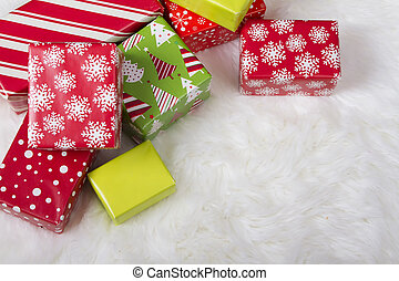 Red, White and Green Christmas presents