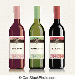Red, white and rose wine labels - Set of wine label...