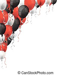 Red White Black Balloons