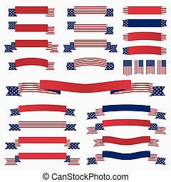 Red white blue american flag, ribbons and banners