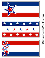 Patriotic banners with stars and stripes. Grouped for banners, signs, and bumper stickers.